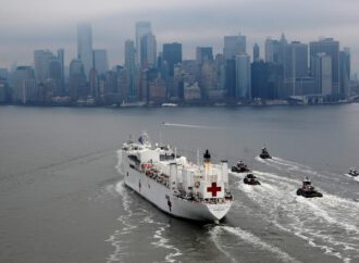 New York greets hospital ship with cheers; California cases soar