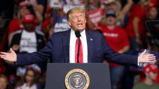 US President Donald Trump arrives at a campaign rally at the BOK Center, June 20, 2020 in Tulsa, Oklahoma
