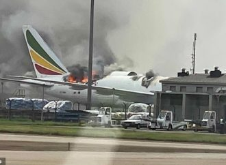 Terrifying moment huge flames rip through a Boeing 777 at a Chinese airport