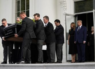 Donald Trump cuts a somber figure at White House funeral for younger brother Robert